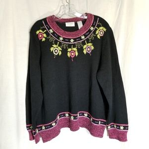 Villager woman black 3X embroidered sweater